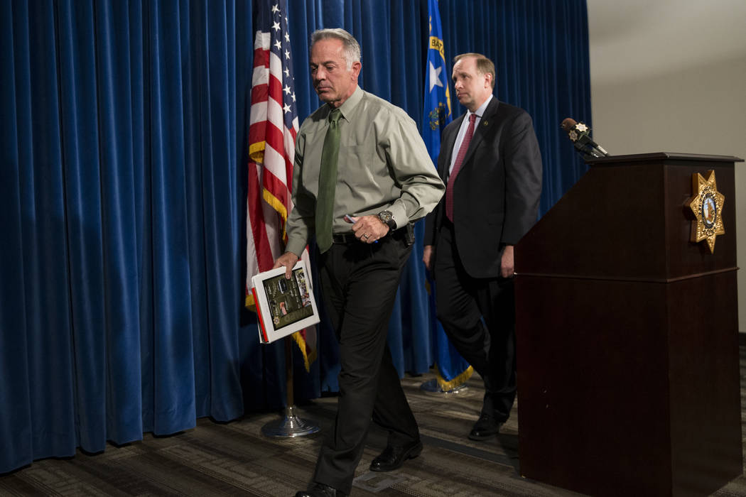 Clark County Sheriff Joe Lombardo, left, with Aaron C. Rouse, special agent in charge for the FBI in Nevada, after discussing the Route 91 Harvest Festival mass shooting at the Metropolitan Police ...