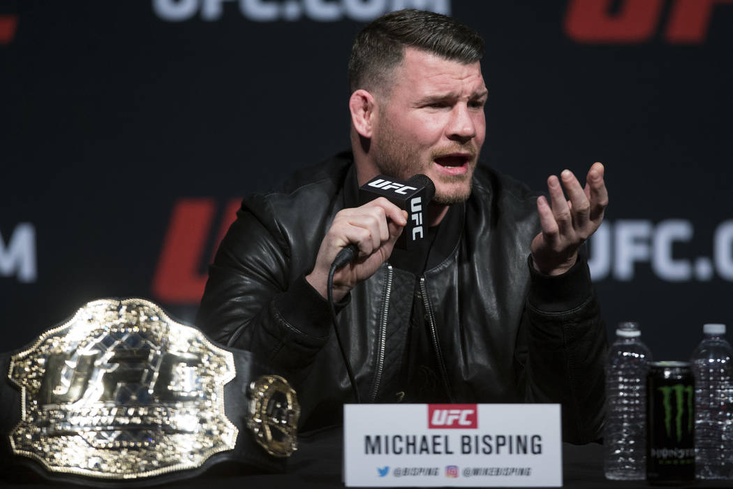 Michael Bisping during an UFC press conference with his future fighting opponent George St-Pierre, no pictured, at T-Mobile Arena on Friday, March 3, 2017, in Las Vegas. (Erik Verduzco/Las Vegas R ...