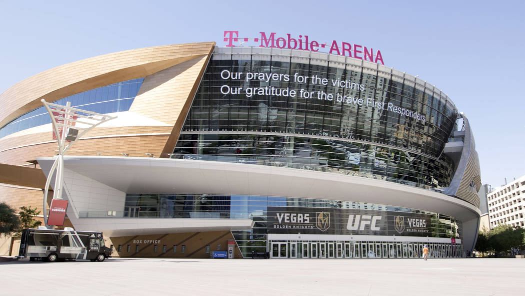 A message from the MGM Grand appears on the T-Mobile Arena marquee in Las Vegas, Wednesday, Oct. 4, 2017. Heidi Fang Las Vegas Review-Journal @HeidiFang