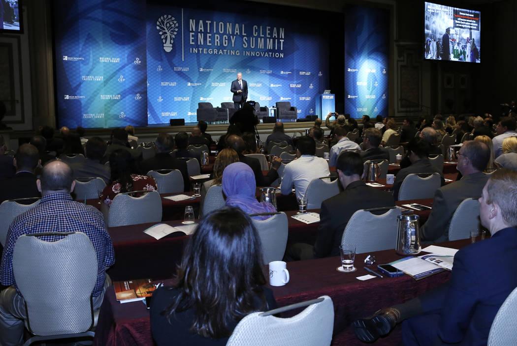 Attendees listen as former Vice President Al Gore speaks during the National Clean Energy Summit Friday, Oct. 13, 2017, in Las Vegas. Bizuayehu Tesfaye Las Vegas Review-Journal @bizutesfaye