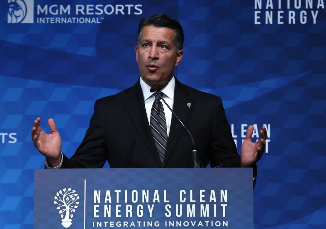 Gov. Brian Sandoval speaks during the National Clean Energy Summit Friday, Oct. 13, 2017, in Las Vegas. Bizuayehu Tesfaye Las Vegas Review-Journal @bizutesfaye