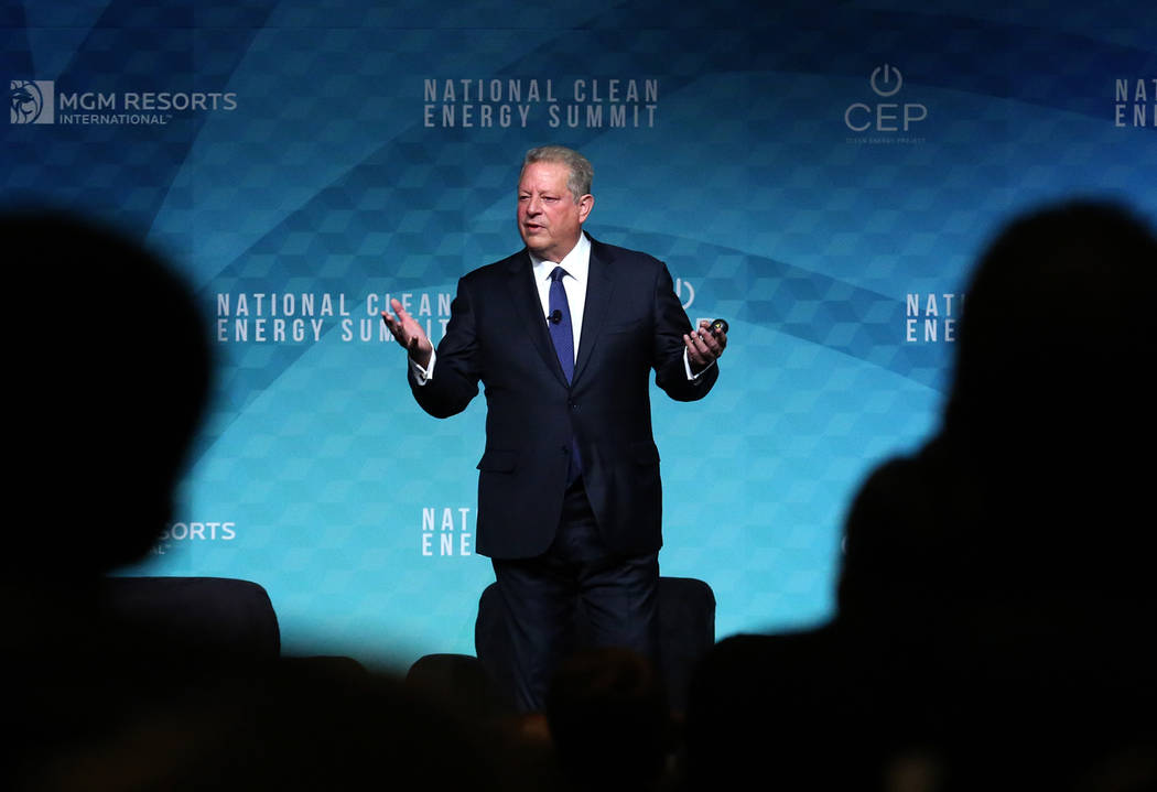 Former Vice President Al Gore speaks during the National Clean Energy Summit Friday, Oct. 13, 2017, in Las Vegas. Bizuayehu Tesfaye Las Vegas Review-Journal @bizutesfaye
