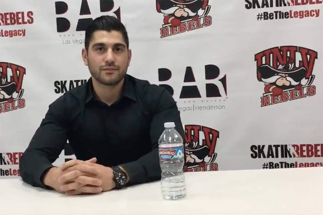 Nick Robone, 28, a UNLV assistant hockey coach, was shot in the chest at the Route 91 Harvest Festival. His brother, a paramedic, stabilized him at the scene.  (YouTube/UNLV Hockey)