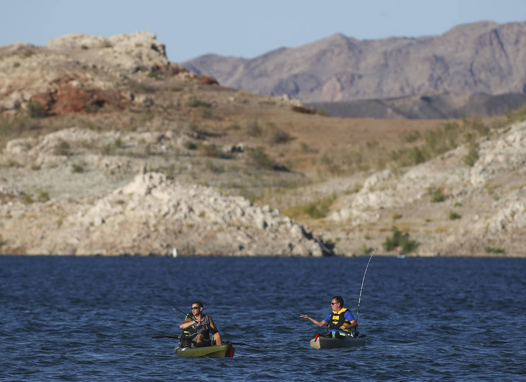 Fishermen at Lake Mead National Recreation Area on Tuesday, Aug. 15, 2017. (Chase Stevens/Las Vegas Review-Journal) @csstevensphoto