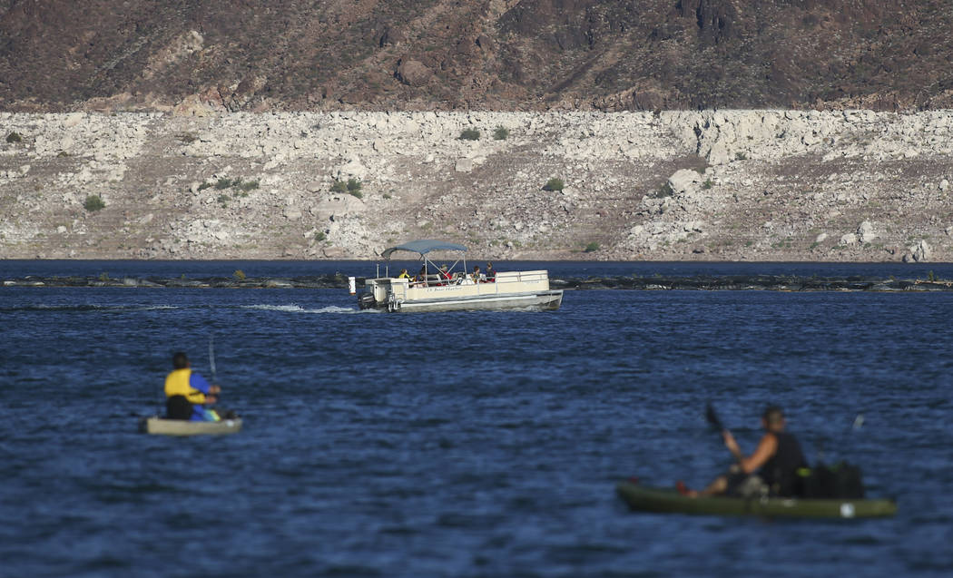 People enjoy the water at Lake Mead National Recreation Area on Tuesday, Aug. 15, 2017. (Chase Stevens/Las Vegas Review-Journal) @csstevensphoto