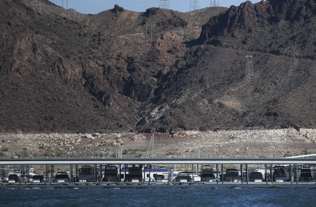 Boats docked at Las Vegas Boat Harbor at Lake Mead National Recreation Area on Tuesday, Aug. 15, 2017. (Chase Stevens/Las Vegas Review-Journal) @csstevensphoto