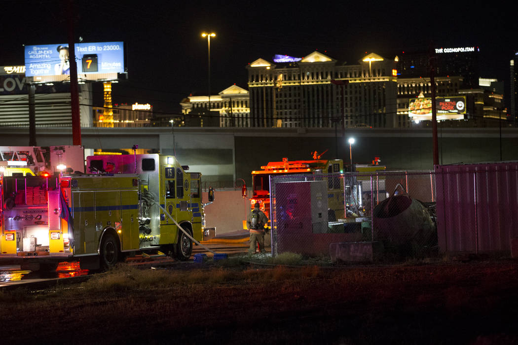 Fire crews respond to a fire at the intersection of Desert Inn Road and Rancho Drive in Las Vegas, Monday, Oct. 9, 2017. Erik Verduzco/Las Vegas Review-Journal