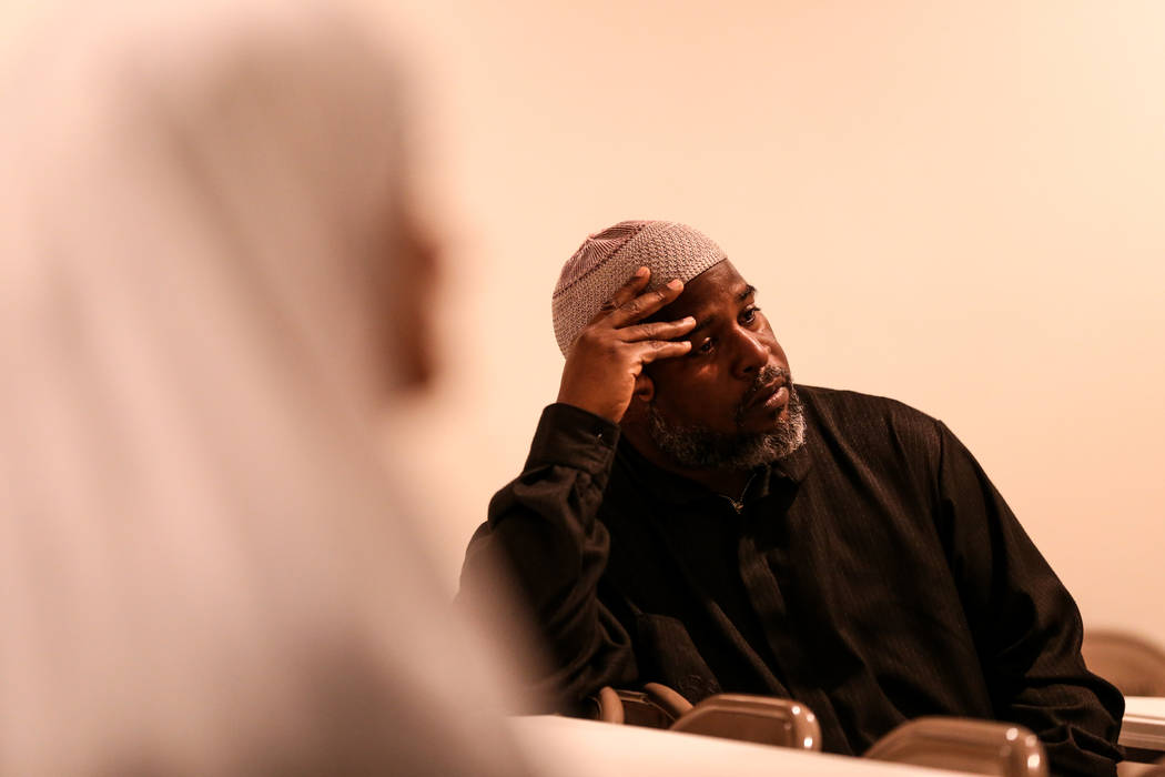 Imam Fateen Seifullah of Las Vegas, 49, listens to a prayer service at the Masjid Ibrahim mosque in Las Vegas, Monday, Oct. 9, 2017. The service was held in remembrance of the victims of last week ...