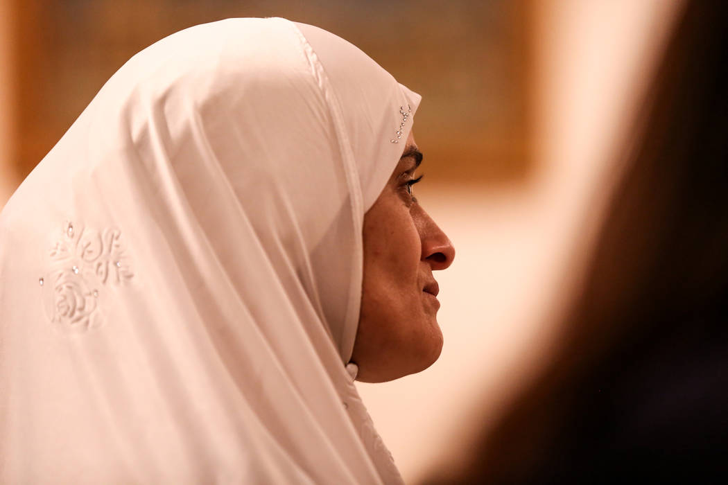 Sfia Elmennani of Las Vegas, 39, listens to a prayer service at the Masjid Ibrahim mosque in Las Vegas, Monday, Oct. 9, 2017. The service was held in remembrance of the victims of last week's mass ...