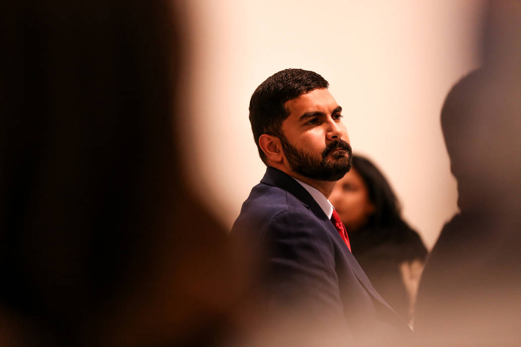 Chairperson Athar Haseebullah, Esq. listens to a prayer service at the Masjid Ibrahim mosque in Las Vegas, Monday, Oct. 9, 2017. The service was held in remembrance of the victims of last week's m ...