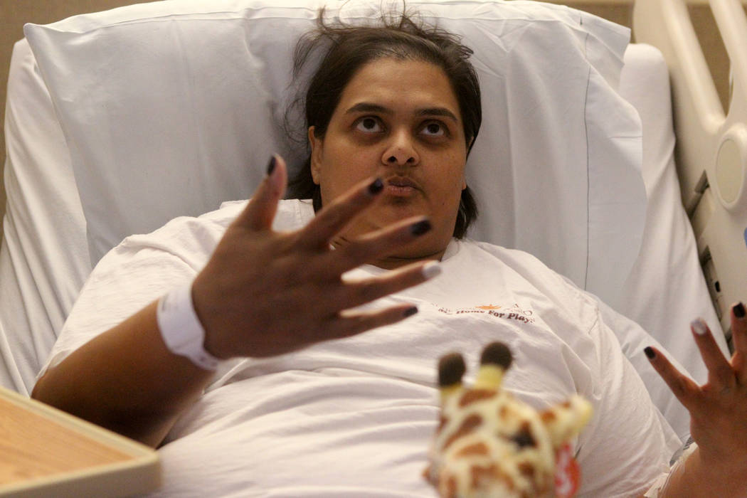 Samanta Arjune, who was shot during the Route 91 Harvest festival Oct. 1, tells her story of survival and recovery during an interview at University Medical Center Monday, Oct. 9, 2017. K.M. Canno ...