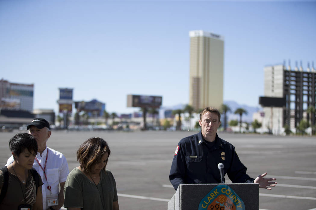 John Steinbeck, deputy chief for the Clark County Fire Department, discusses new details on obtaining personal property and mental health care issues surrounding the Route 91 Festival mass shootin ...