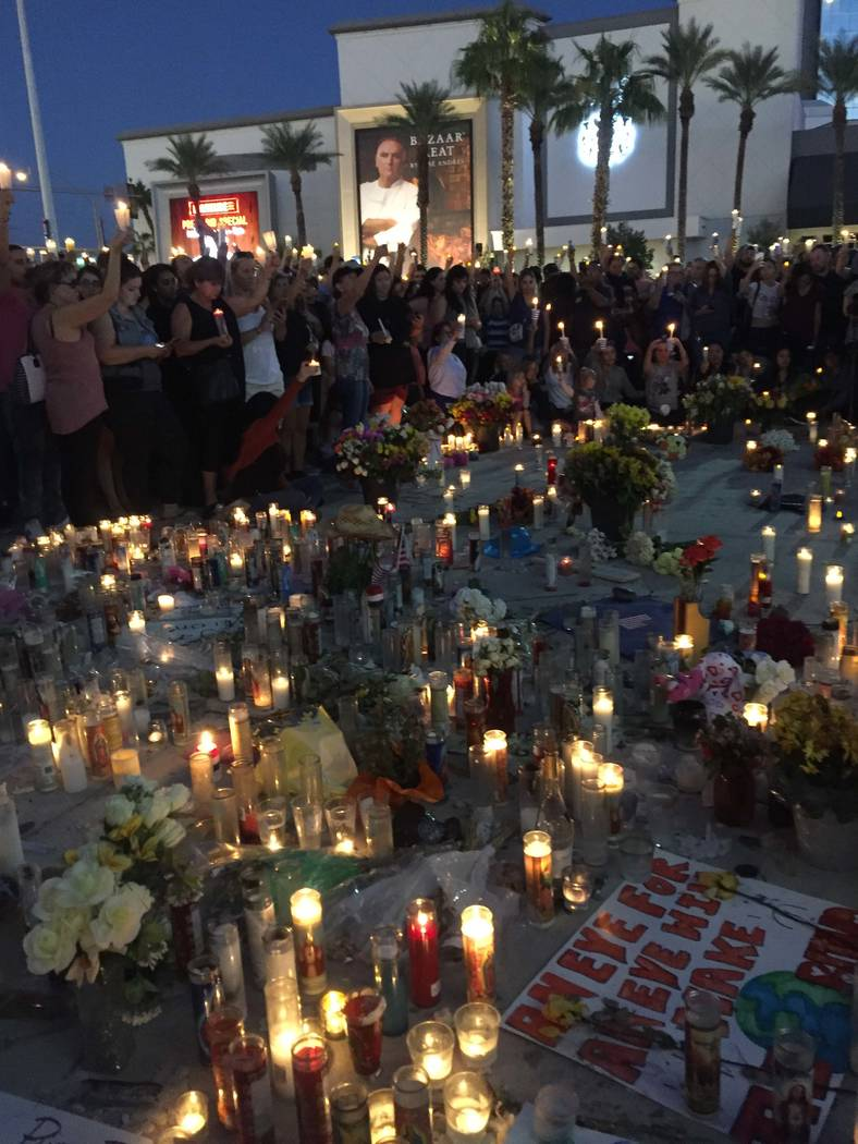 Candlelight vigil near the Stratosphere on Sunday, Oct. 8. Photo submitted by Kristina Brown