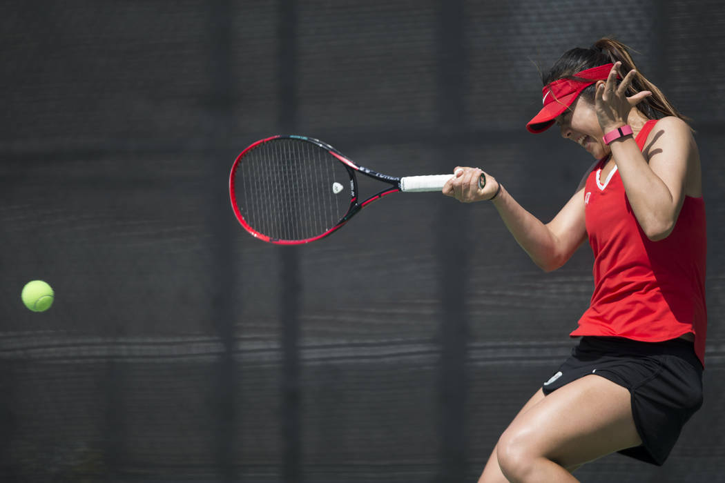 UNLV junior Aiwen Zhu, shown in March, won twice in singles and was part of a doubles victory Thursday to advance in the ITA Mountain Region Championships in Salt Lake City. (Erik Verduzco/Las Veg ...