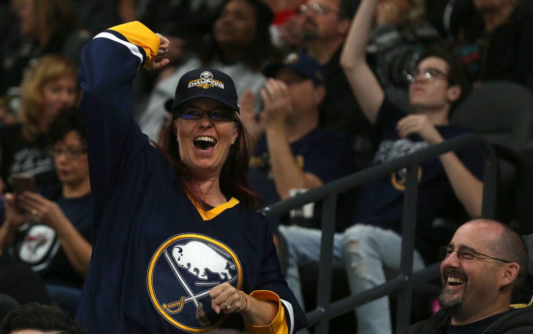 A Buffalo Sabres fan cheers after the team's first goal during their game against Vegas Golden Knights at T-Mobile Arena in Las Vegas, Tuesday, Oct. 17, 2017. Bridget Bennett Las Vegas Review-Jour ...