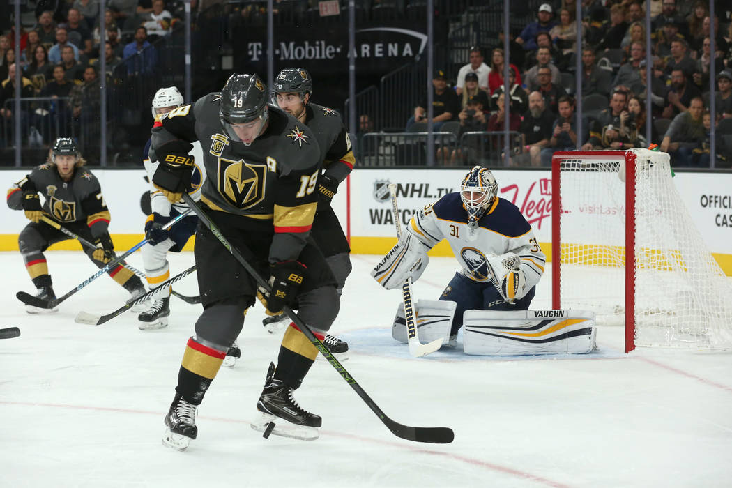 Vegas Golden Knights right wing Reilly Smith (19) receives the puck during a game against Buffalo Sabres at T-Mobile Arena in Las Vegas, Tuesday, Oct. 17, 2017. Bridget Bennett Las Vegas Review-Jo ...
