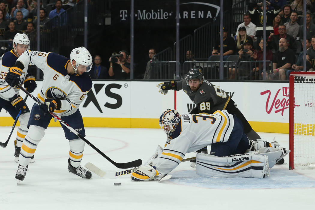 Buffalo Sabres goalie Chad Johnson (31) makes a save during a game against Vegas Golden Knights at T-Mobile Arena in Las Vegas, Tuesday, Oct. 17, 2017. Bridget Bennett Las Vegas Review-Journal @Br ...