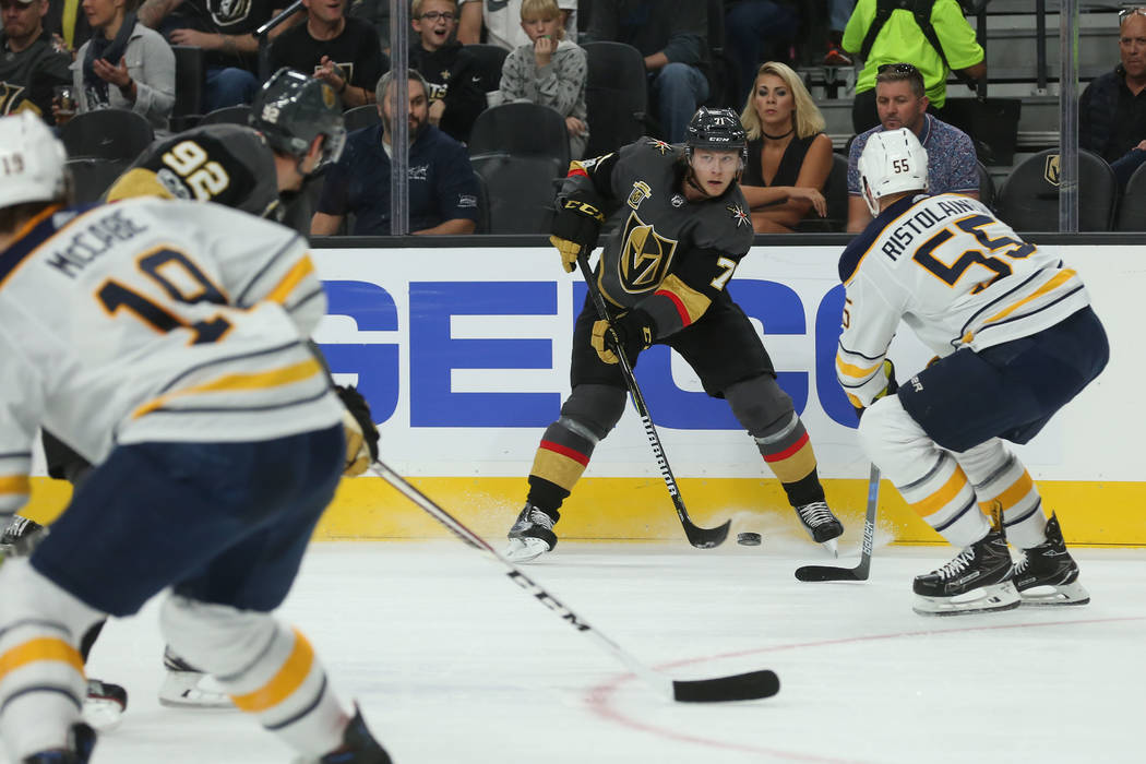 Vegas Golden Knights center William Karlsson (71) passes the puck during a game against Buffalo Sabres at T-Mobile Arena in Las Vegas, Tuesday, Oct. 17, 2017. Bridget Bennett Las Vegas Review-Jour ...