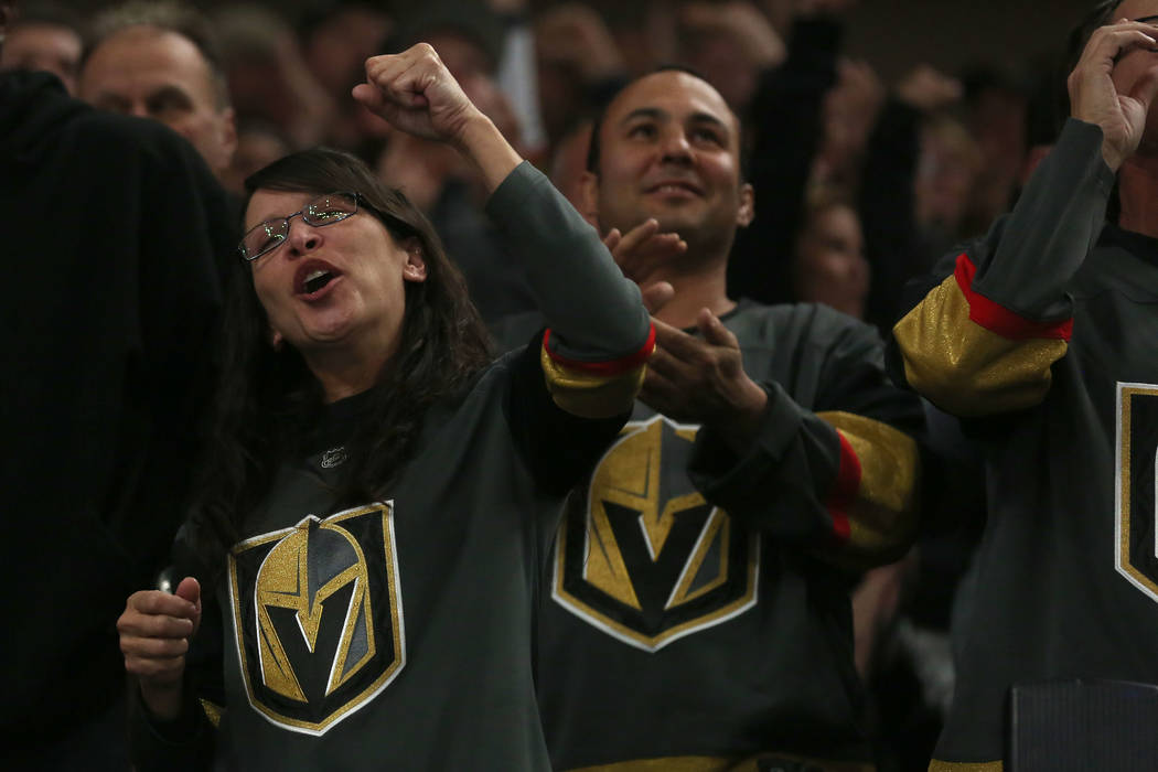 Vegas Golden Knights fans cheer after their first goal during their game against Buffalo Sabres at T-Mobile Arena in Las Vegas, Tuesday, Oct. 17, 2017. Bridget Bennett Las Vegas Review-Journal @Br ...