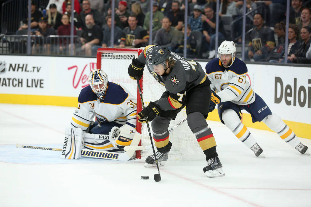 Vegas Golden Knights center William Karlsson (71) brings the puck around the net during a game against Buffalo Sabres at T-Mobile Arena in Las Vegas, Tuesday, Oct. 17, 2017. Bridget Bennett Las Ve ...