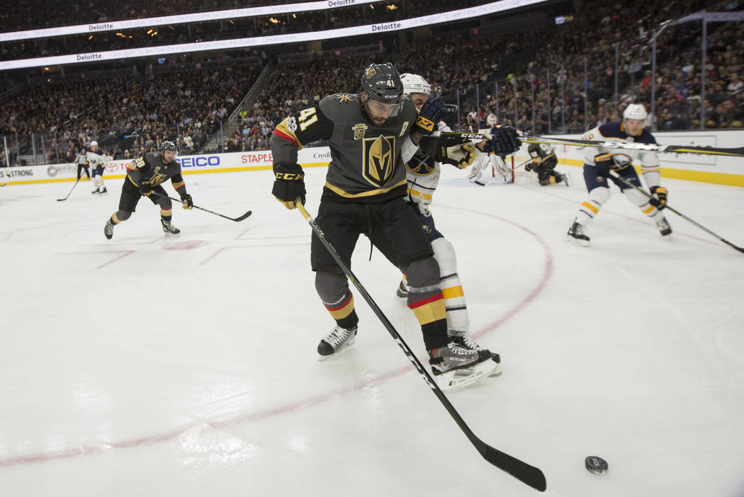 Vegas Golden Knights left wing Pierre-Edouard Bellemare (41) fights for the puck during a game against Buffalo Sabres, in Las Vegas, Tuesday, Oct. 17, 2017. Bridget Bennett Las Vegas Review-Journa ...