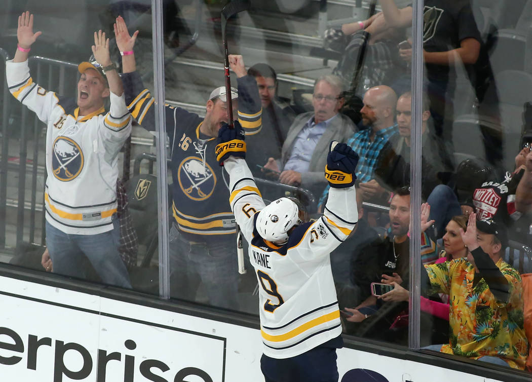 Buffalo Sabres left wing Evander Kane (9) celebrates after making a goal, tying the game during the third period, sending the game into overtime, at T-Mobile Arena in Las Vegas, Tuesday, Oct. 17,  ...