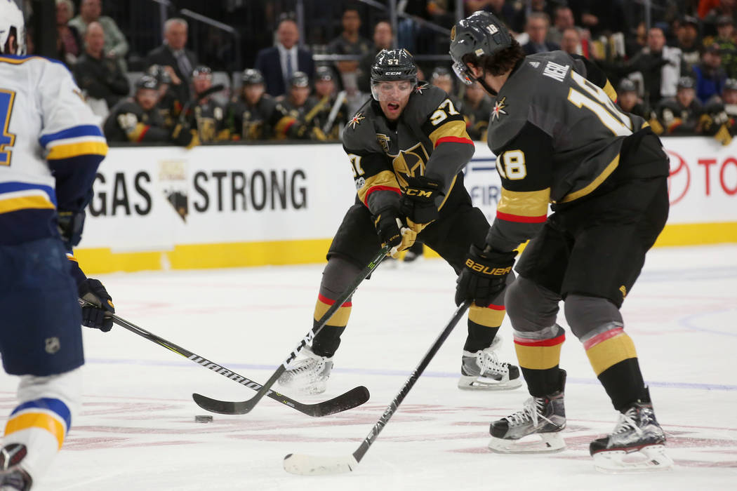 Vegas Golden Knights left wing David Perron (57) fights for the puck during a game against St. Louis Blues at T-Mobile Arena in Las Vegas, Saturday, Oct. 21, 2017. Bridget Bennett Las Vegas Review ...