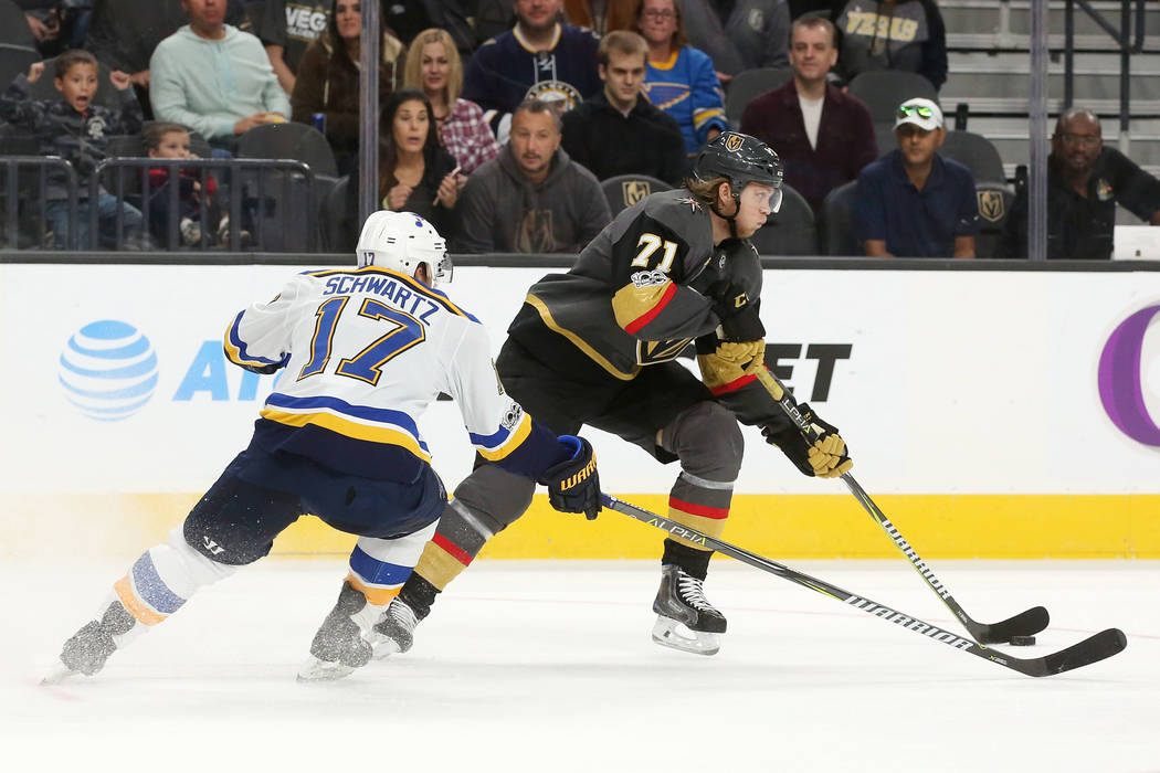 St. Louis Blues left wing Jaden Schwartz (17) chases Vegas Golden Knights center William Karlsson (71) who has the puck during a game at T-Mobile Arena in Las Vegas, Saturday, Oct. 21, 2017. Bridg ...
