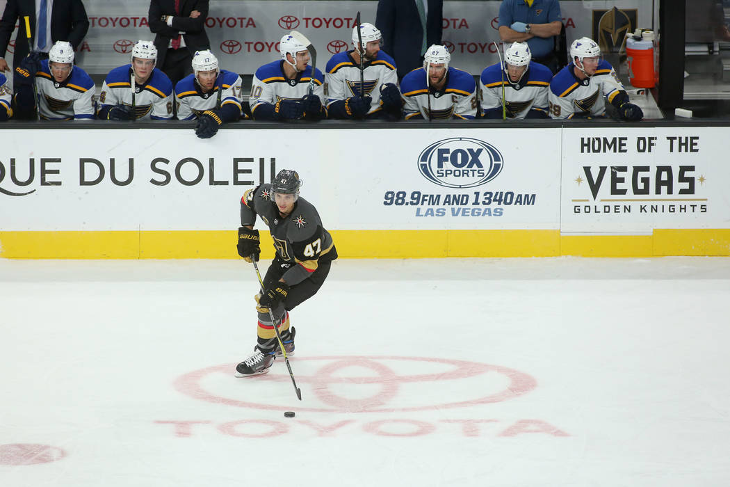 Vegas Golden Knights defenseman Luca Sbisa (47) handles the puck during the second period of the game at T-Mobile Arena against St. Louis Blues in Las Vegas, Saturday, Oct. 21, 2017. Bridget Benne ...