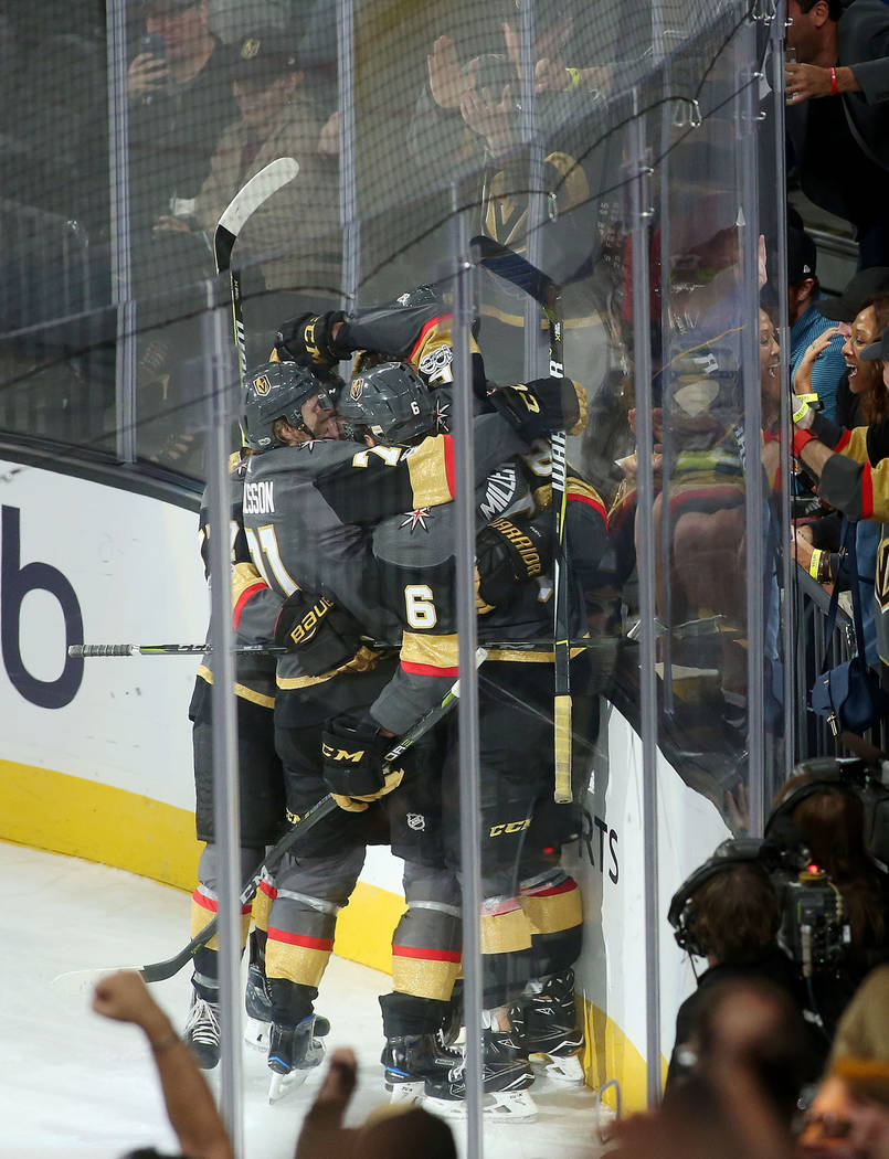 Vegas Golden Knights players gather after a goal during the second period of the game at T-Mobile Arena against St. Louis Blues in Las Vegas, Saturday, Oct. 21, 2017. Bridget Bennett Las Vegas Rev ...