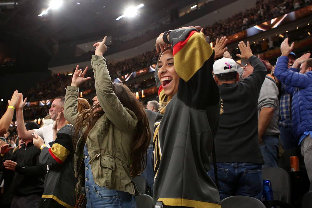 Vegas Golden Knights fans cheer after their 3-2 win over St. Louis Blues in overtime at T-Mobile Arena in Las Vegas, Saturday, Oct. 21, 2017. Bridget Bennett Las Vegas Review-Journal @Bridgetkbennett