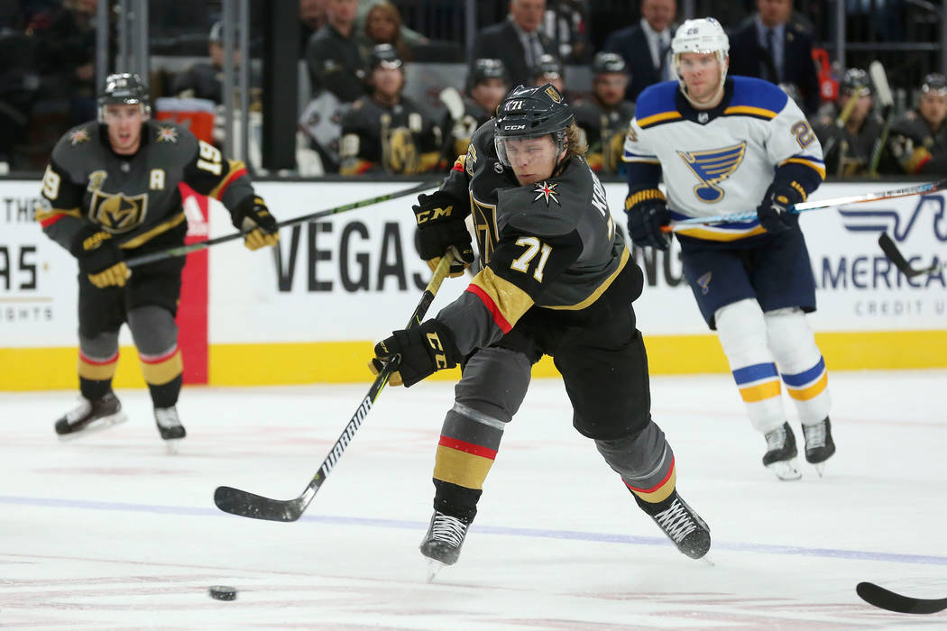 Vegas Golden Knights center William Karlsson (71) attempts a shot on the goal during a game against St. Louis Blues at T-Mobile Arena in Las Vegas, Saturday, Oct. 21, 2017. Vegas Golden Knights wo ...
