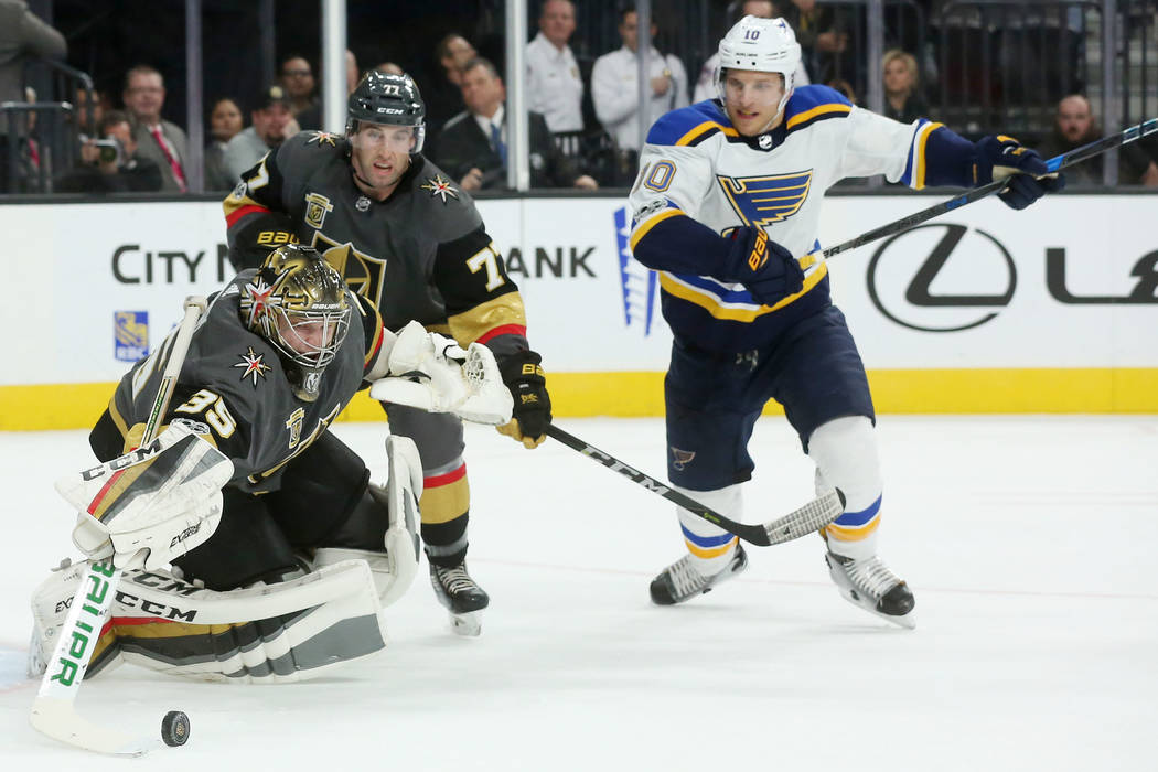 Vegas Golden Knights goalie Oscar Dansk (35) makes a save after an attempted shot on the goal by St. Louis Blues during a game at T-Mobile Arena in Las Vegas, Saturday, Oct. 21, 2017. Vegas Golden ...