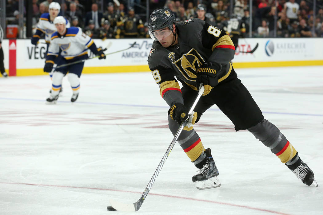 Vegas Golden Knights right wing Alex Tuch (89) handles the puck during a game against St. Louis Blues at T-Mobile Arena in Las Vegas, Saturday, Oct. 21, 2017. Vegas Golden Knights won 3-2 in overt ...