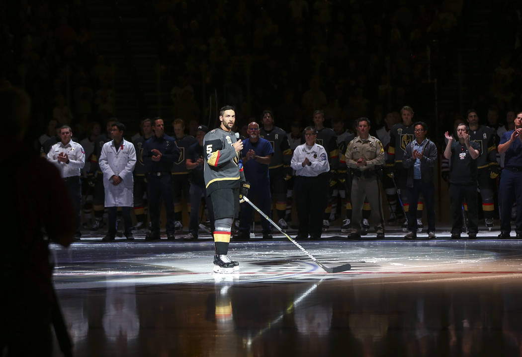 Vegas Golden Knights' Deryk Engelland (5) speaks before an NHL hockey game between the Vegas Golden Knights and Arizona Coyotes at T-Mobile Arena in Las Vegas on Tuesday, Oct. 10, 2017. Chase Stev ...