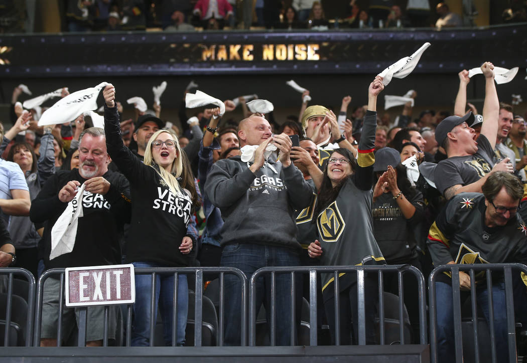 Vegas Golden Knights fans celebrate a goal by James Neal against the Arizona Coyotes during an NHL hockey game at T-Mobile Arena in Las Vegas on Tuesday, Oct. 10, 2017. Chase Stevens Las Vegas Rev ...