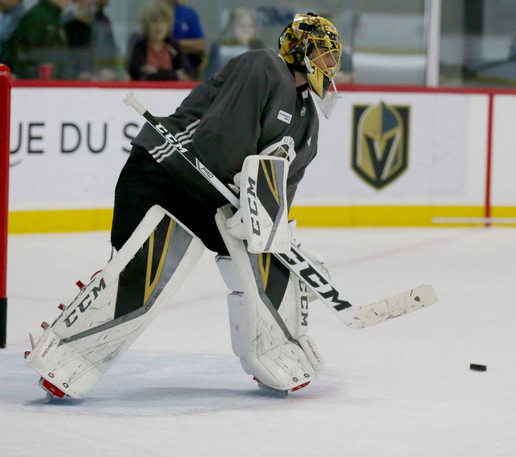 Vegas Golden Knights goalie Marc-Andre Fleury practices  at City National Arena in Las Vegas, Monday, Oct. 9, 2017. Elizabeth Brumley Las Vegas Review-Journal