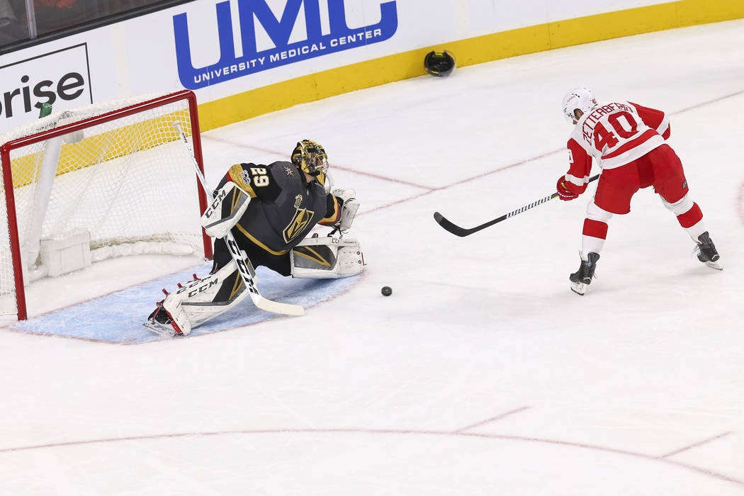 Detroit Red Wings center Henrik Zetterberg (40) shoots for a goal on Vegas Golden Knights goalie Marc-Andre Fleury (29) during the second period of an NHL hockey game at the T-Mobile Arena in Las  ...