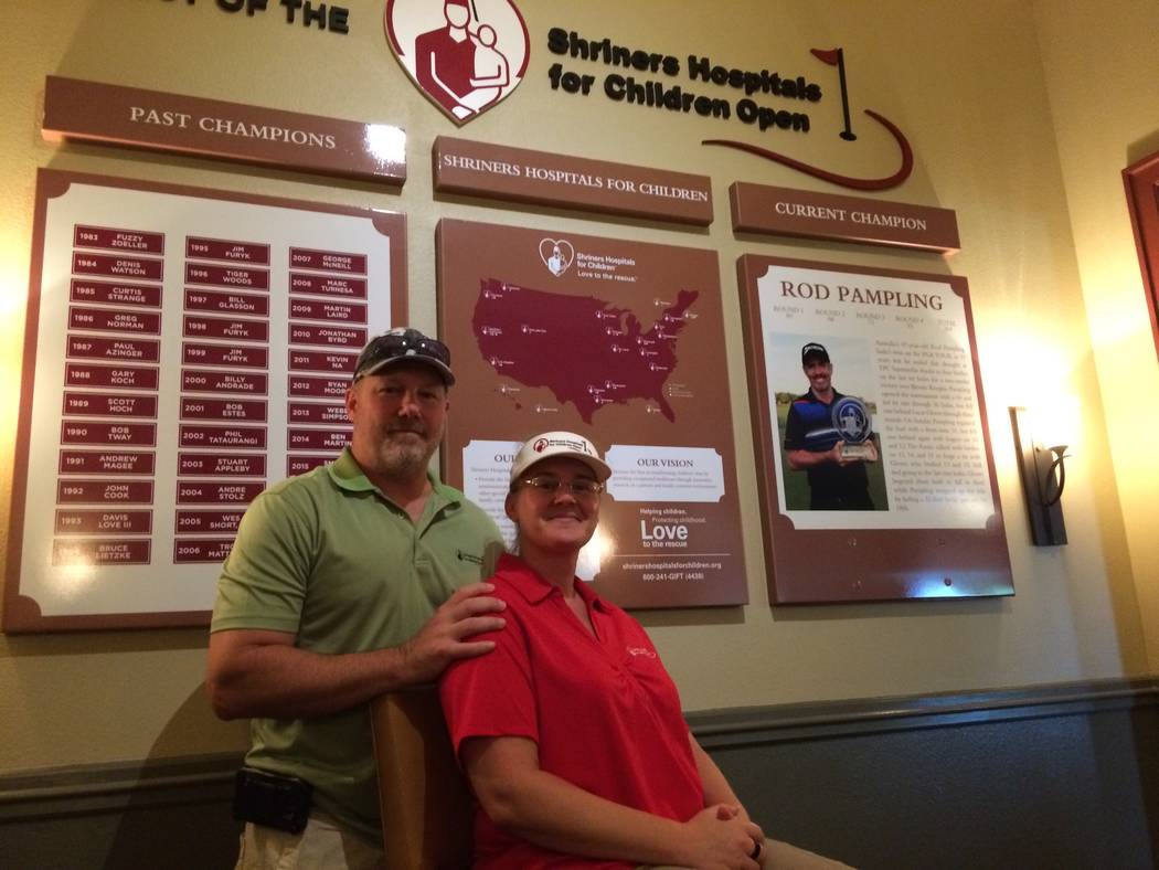 Paul and Kristin Schulz pause inside the main building at TPC Summerlin Sept. 18, 2017. The couple has been volunteering with Shriner's Open for years and don't plan their vacations until they k ...