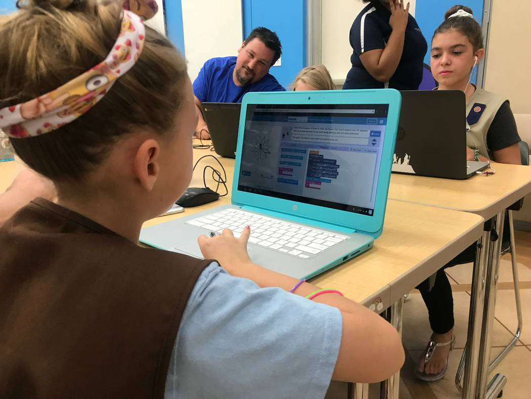 Girl Scouts practice activities at the Code Central family coding night on Oct. 9, 2017 at the Girl Scouts of Southern Nevada headquarters, 2941 E. Harris Ave. (Kailyn Brown/View) @KailynHype