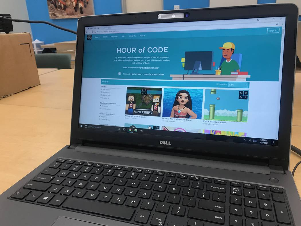A screen is displayed at the Code Central family coding night at the Girl Scouts of Southern Nevada headquarters, 2941 E. Harris Ave. (Kailyn Brown/View) @KailynHype