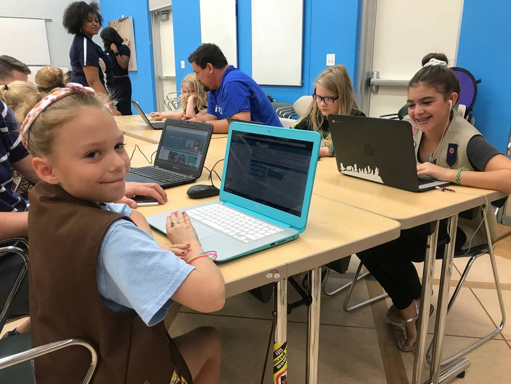 Girl Scouts Madeleine and her older sister Mia practice activities at the Code Central family coding night on Oct. 9, 2017 at the Girl Scouts of Southern Nevada headquarters, 2941 E. Harris Ave. ( ...