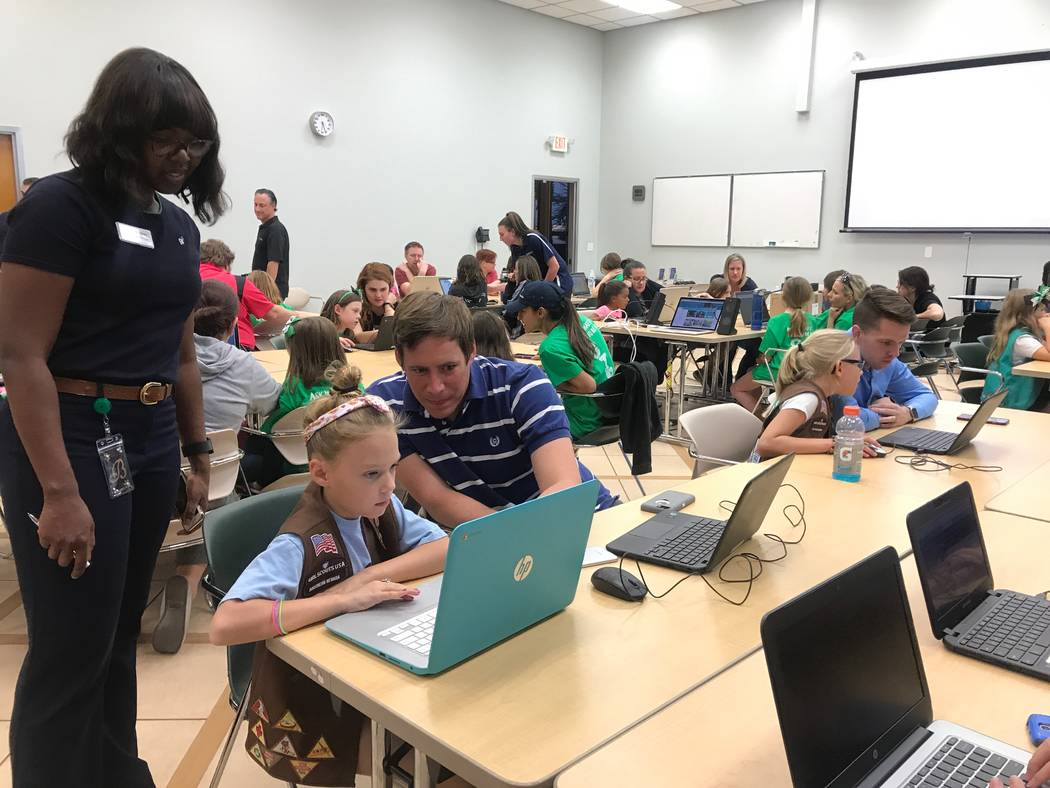 Girl Scouts of Southern Nevada STEAM director Britney Davis watches participants practice coding activities on Oct. 9, 2017 at the Girl Scouts of Southern Nevada headquarters, 2941 E. Harris Ave.  ...