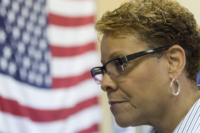 State Sen. Pat Spearman speaks with a reporter during the opening of Democratic presidential candidate Hillary Clinton's new campaign office in North Las Vegas, Sunday, Aug. 28, 2016. Jason Ogulni ...