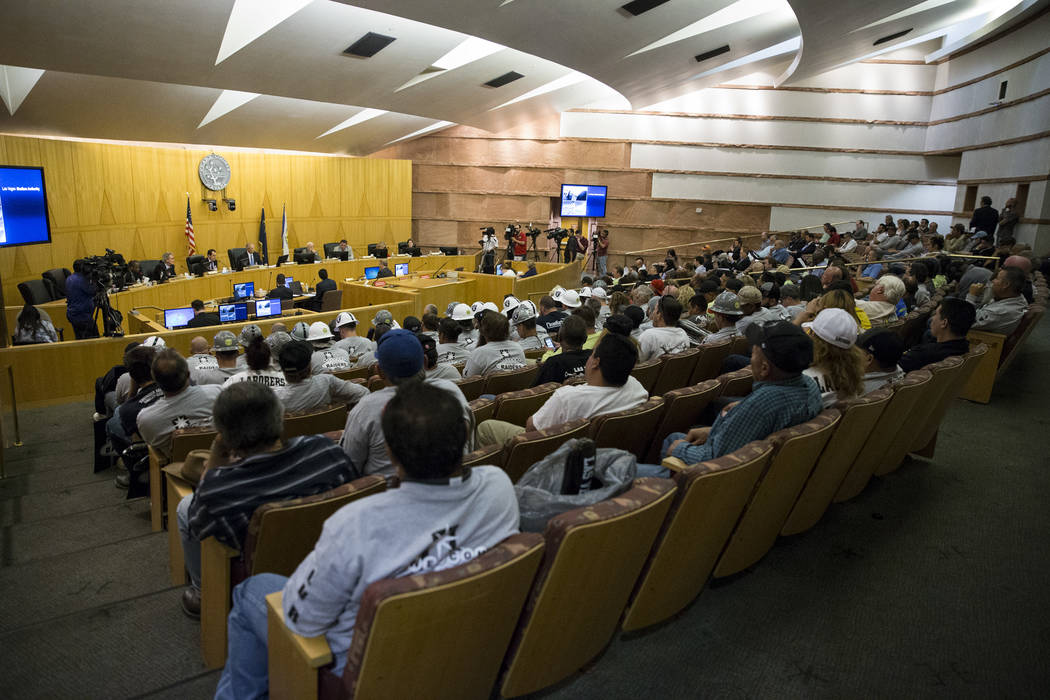 People attend a Las Vegas Stadium Authority Board meeting at the Clark County Commission Chambers on Thursday, May 18, 2017, in Las Vegas. (Erik Verduzco/Las Vegas Review-Journal)