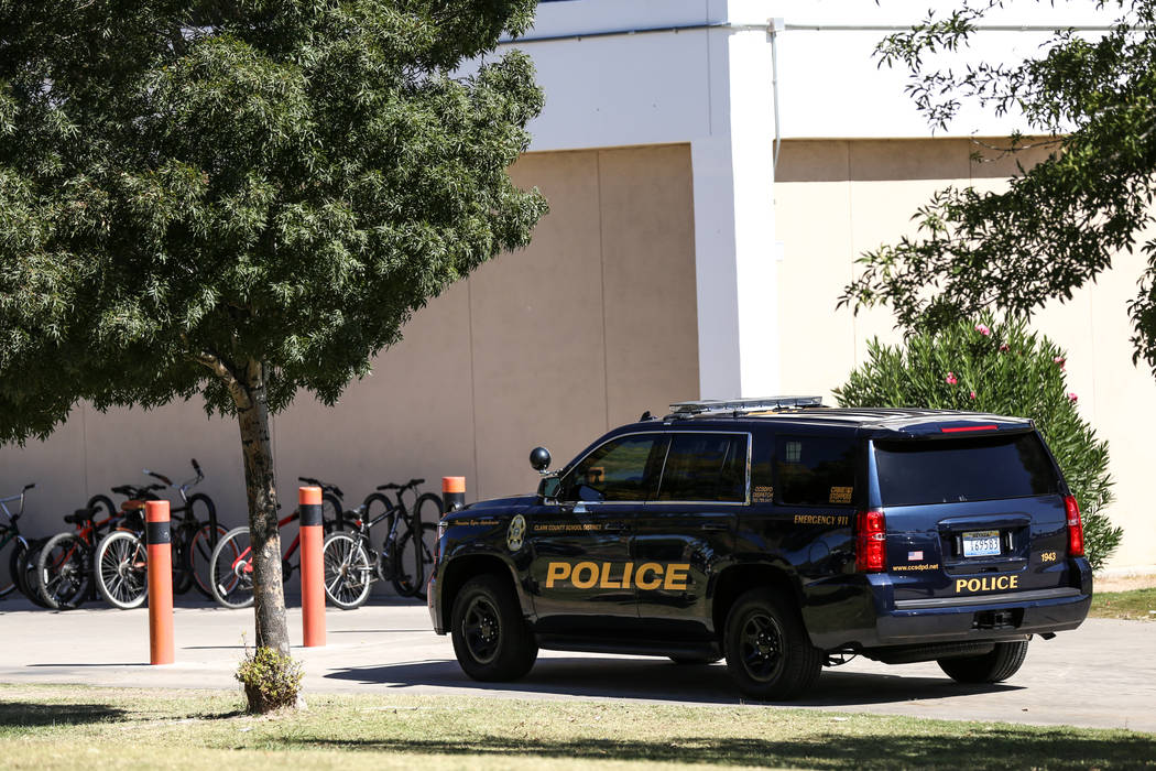 A Clark County School District patrol car is on the scene after a student was stabbed in the chest at Chaparral High School in Las Vegas, Tuesday, Oct. 10, 2017. Joel Angel Juarez Las Vegas Review ...