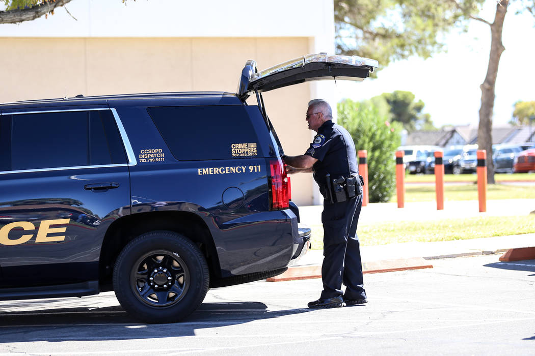 A Clark County School District police officer is on the scene after a student was stabbed in the chest at Chaparral High School in Las Vegas, Tuesday, Oct. 10, 2017. Joel Angel Juarez Las Vegas Re ...