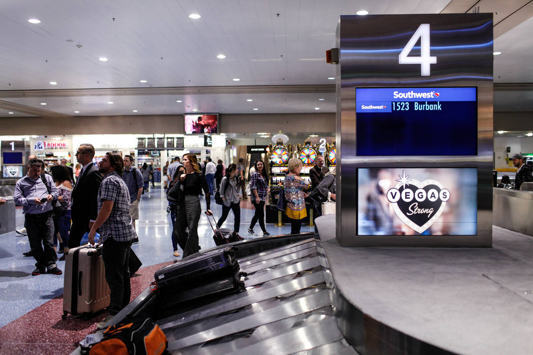 McCarran International Airport Terminal 1 baggage claim in Las Vegas, Friday, Oct. 13, 2017. Joel Angel Juarez Las Vegas Review-Journal @jajuarezphoto