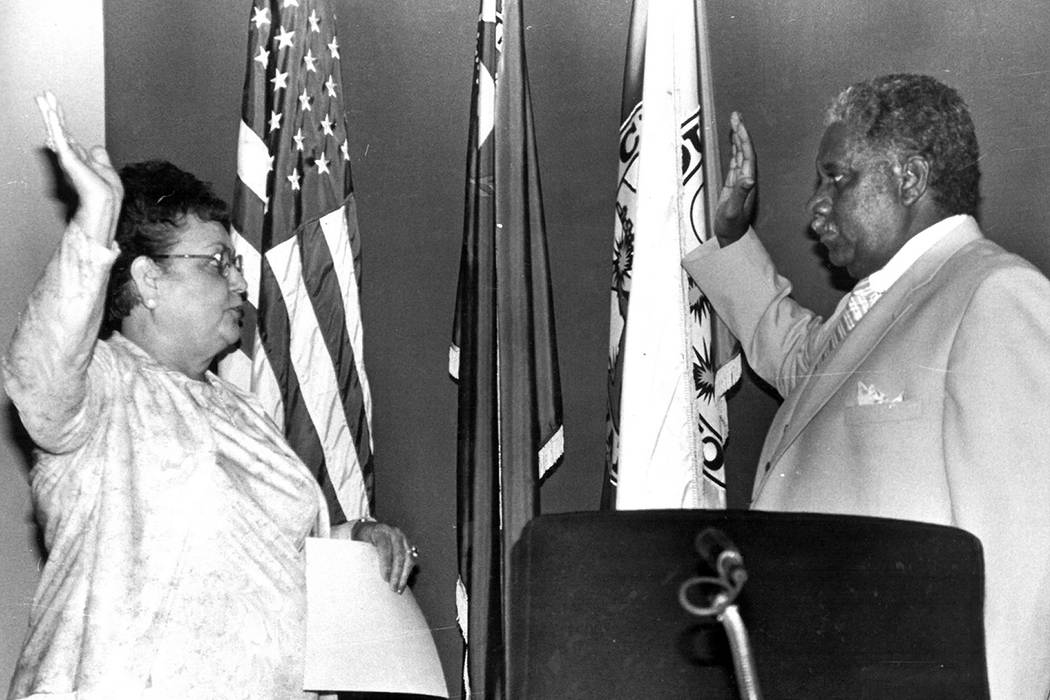 Donald Clark is sworn in as a Clark County Commissioner with County Clerk Loretta Bowman on Aug. 7, 1984. Las Vegas Review-Journal