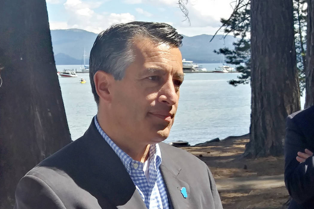 Republican Gov. Brian Sandoval talks to reporters on Tuesday at the 21st annual Lake Tahoe Summit in South Lake Tahoe, California, Tuesday, Aug. 22, 2017. (Ben Botkin/Las Vegas Review-Journal)